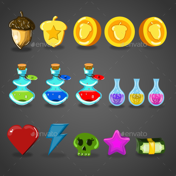 Game Resources Icons - Decorative Symbols Decorative