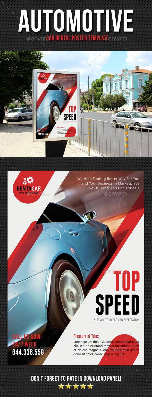 Automotive Car Rental Poster Template V06 - Signage Print Templates