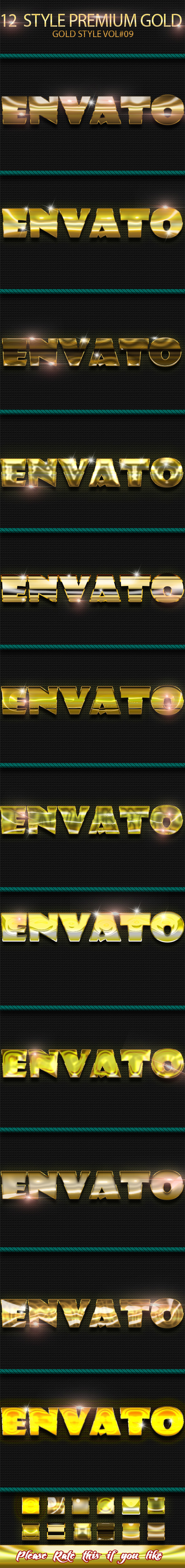 12 Photoshop GOLD Text Effect Styles Vol 9 - Text Effects Styles