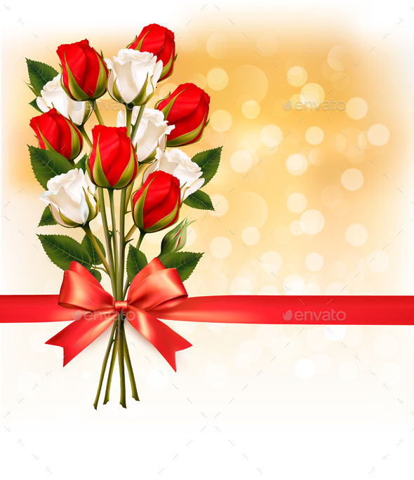 Bouquet of Red and White Roses with a Red Ribbon - Flowers & Plants Nature