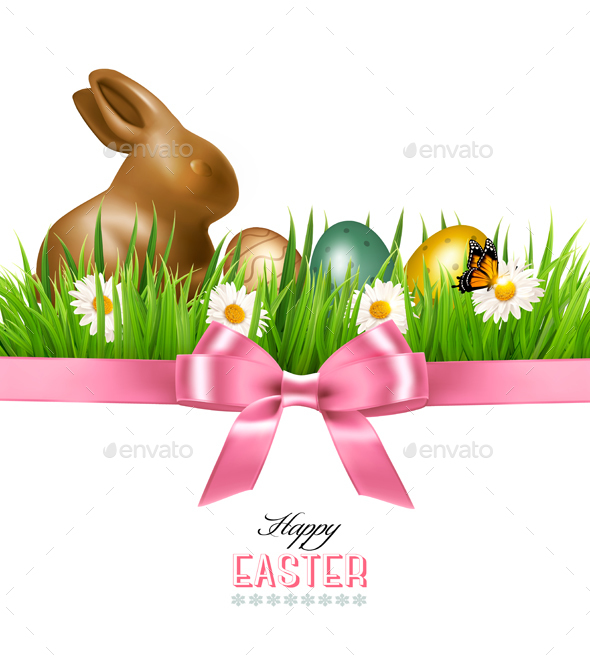 Happy Easter Background Colorful Easter Eggs - Miscellaneous Seasons/Holidays