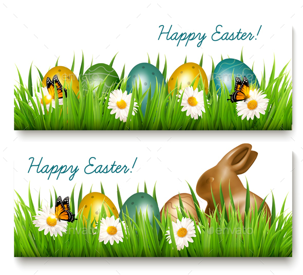 Two Happy Easter Banners with Easter Eggs - Miscellaneous Seasons/Holidays