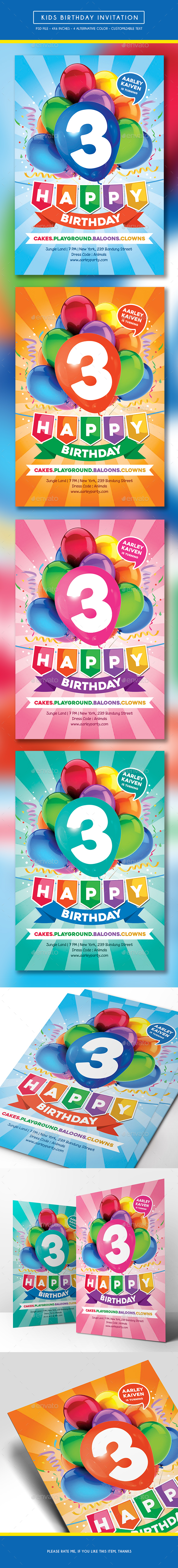 Kids Birthday Invitation - Birthday Greeting Cards