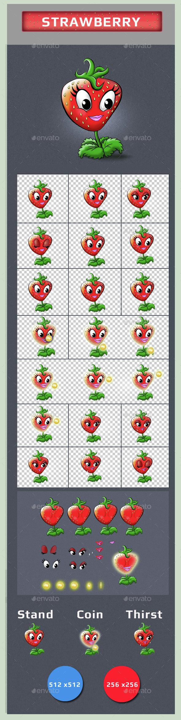 Strawberry Sprites - Sprites Game Assets