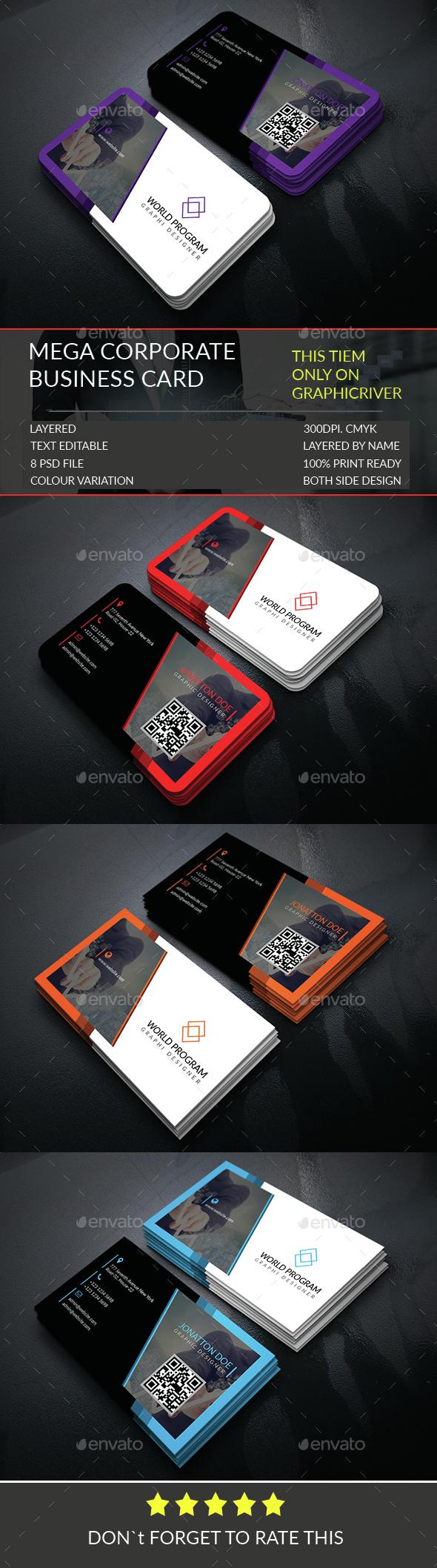 Mega Corporate Business Card Template.306 - Corporate Business Cards