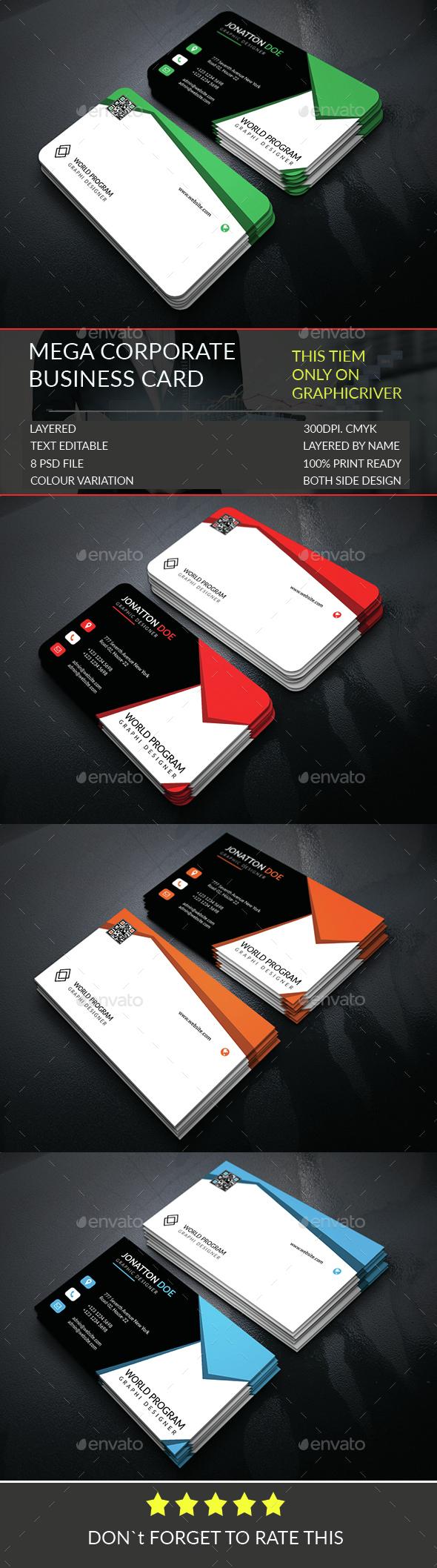 Mega Corporate Business Card Template.307 - Corporate Business Cards