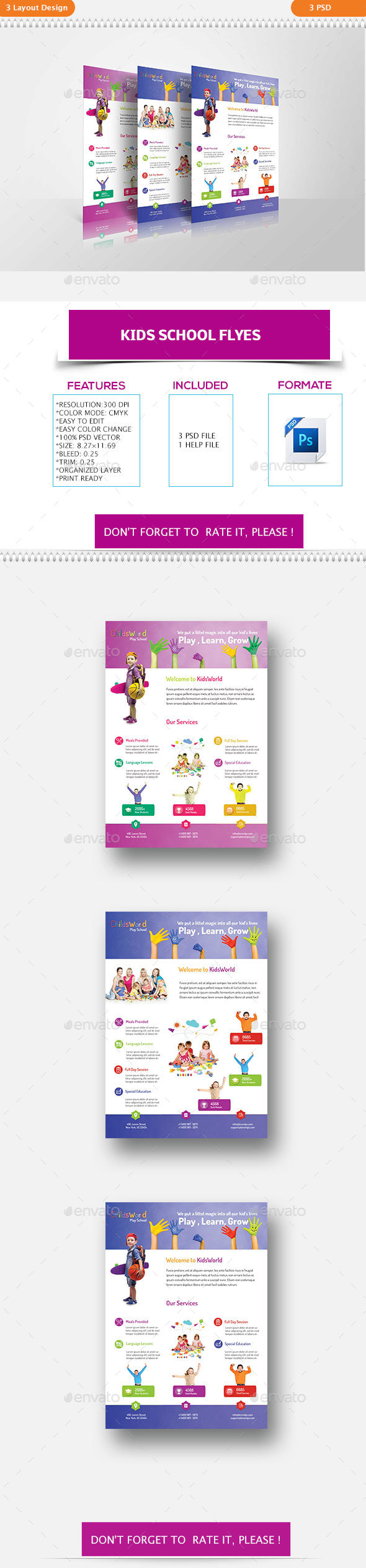 Kids School Flyers - Flyers Print Templates