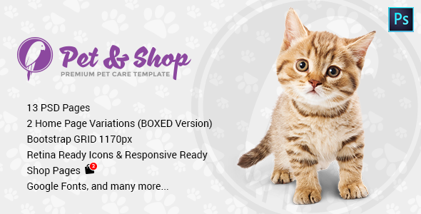 Pet & Shop | Premium Pet Care PSD Template - Retail PSD Templates