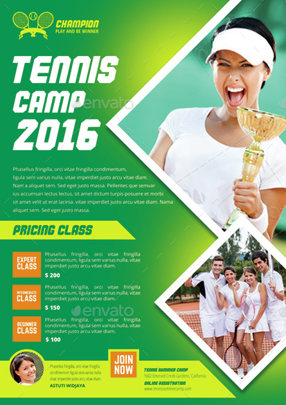 tennis camp flyer by monggokerso