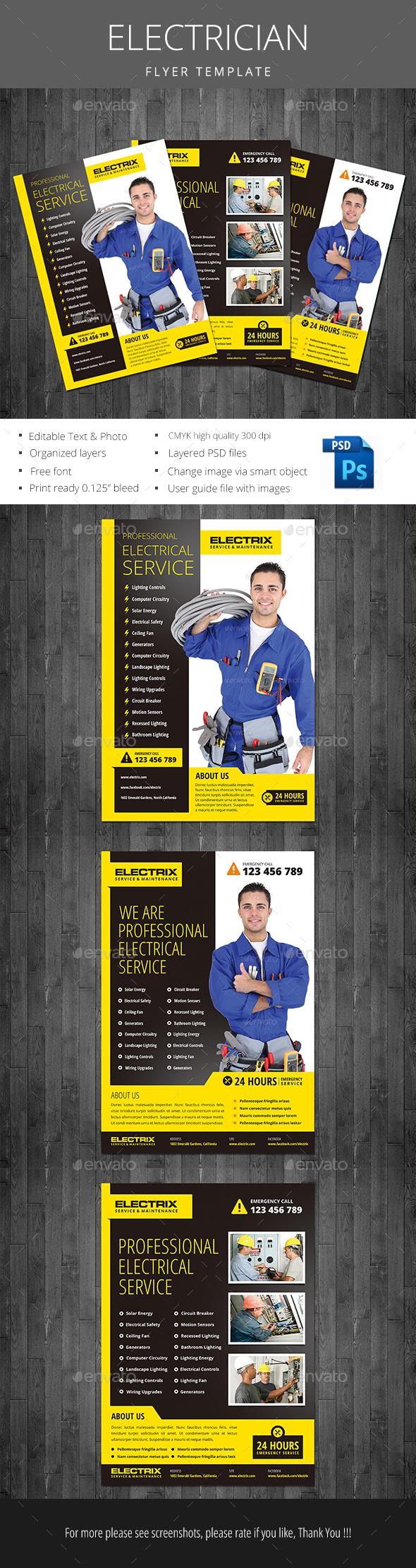 Electrician Flyer - Flyers Print Templates