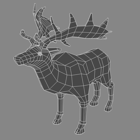 Low Poly Base Mesh Deer - 3DOcean Item for Sale