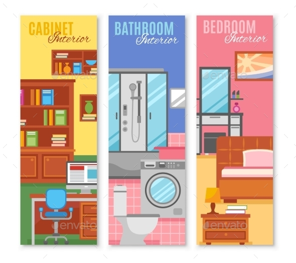 Room Furniture Banner Set - Buildings Objects