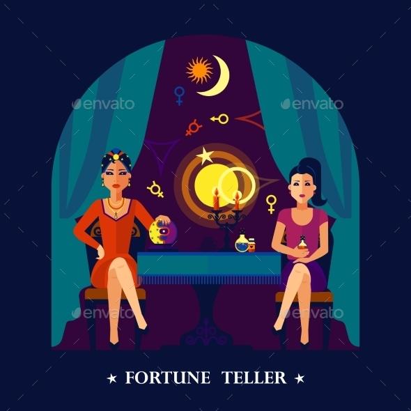 Fortune Teller Cristal Ball Flat Illustration  - Miscellaneous Vectors