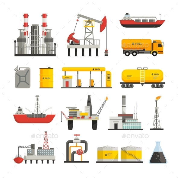 Oil Petrol Industry Icons Set - Man-made Objects Objects