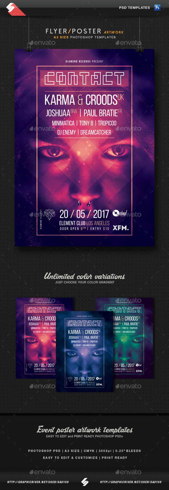Contact - Progressive Party Flyer / Poster Template A3 - Clubs & Parties Events