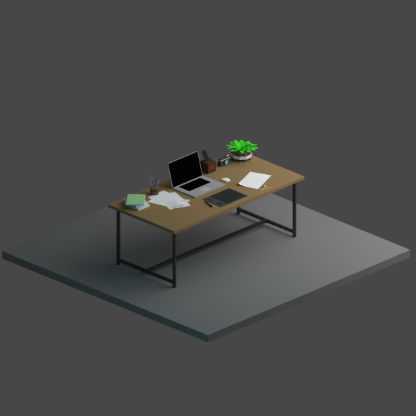 Low Poly Work Desk - 3DOcean Item for Sale
