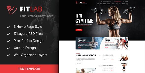 FITLAB – Fitness, GYM & Health PSD Template