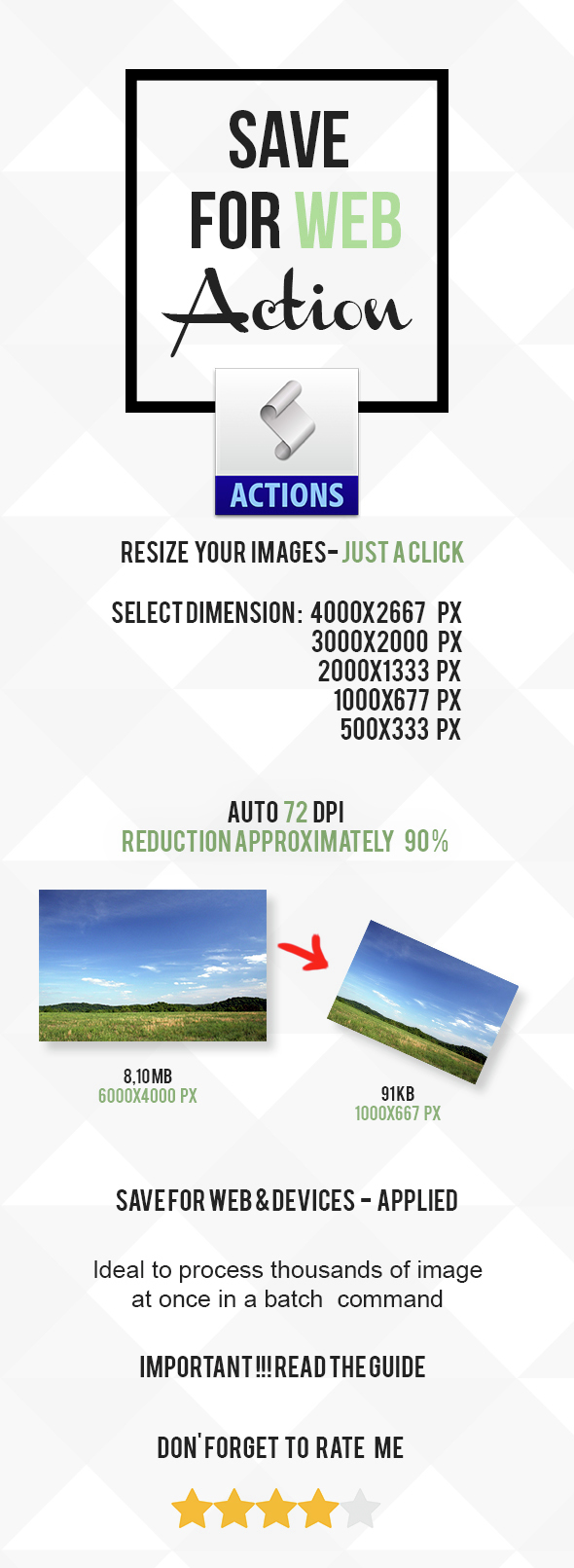 Save for Web Action - Resize Image - Utilities Actions