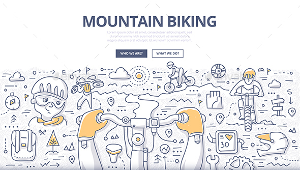 Mountain Biking Doodle Concept - Sports/Activity Conceptual