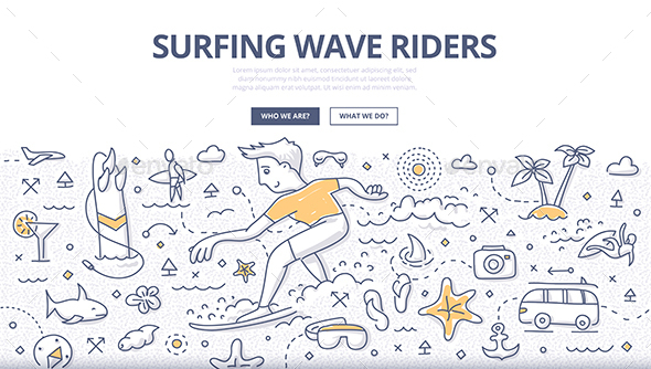 Surfing Wave Riders Doodle Concept - Sports/Activity Conceptual