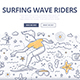 Surfing Wave Riders Doodle Concept