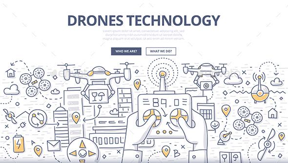 Drones Technology Doodle Concept - Technology Conceptual