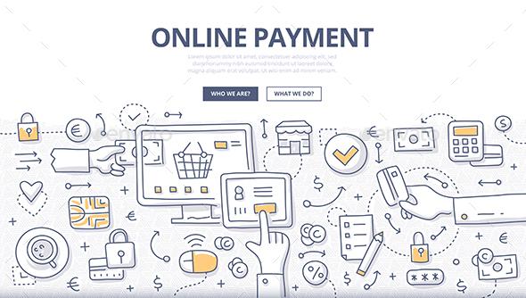 Online Payment Doodle Concept - Commercial / Shopping Conceptual