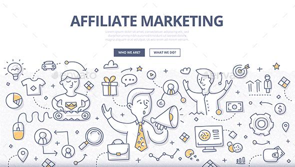 Affiliate Marketing Doodle Concept - Concepts Business