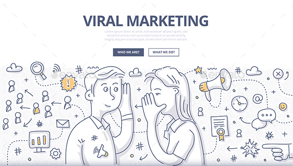Viral Marketing Doodle Concept - Concepts Business