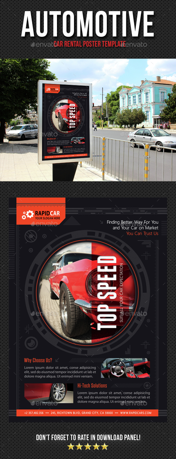 Automotive Car Rental Poster Template V07 - Signage Print Templates