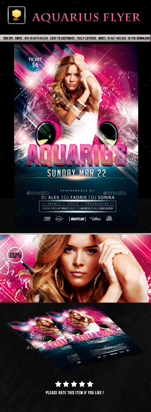 Aquarius Party Flyer - Clubs & Parties Events