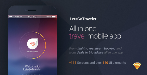 LetsGo Traveler | All in One Travel Sketch UI kit - Sketch Templates