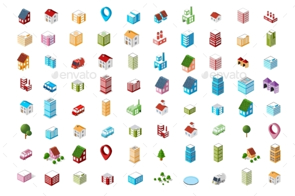 Icons Isometric City - Buildings Objects