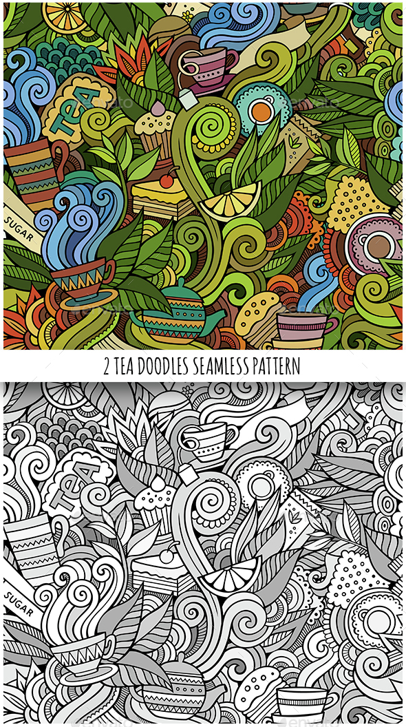 2 Tea Doodles Seamless Pattern - Food Objects