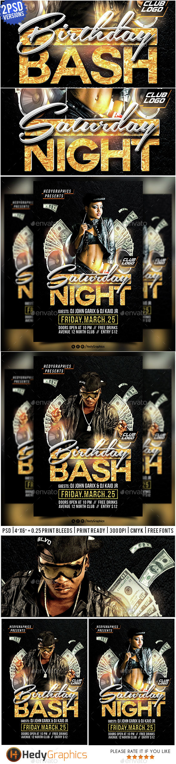 Birthday Bash & Saturday Night - Flyer Template - Events Flyers