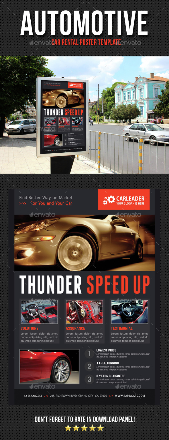 Automotive Car Rental Poster Template V09 - Signage Print Templates