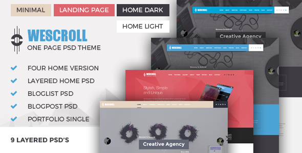 WeScroll One Page PSD Theme - Business Corporate