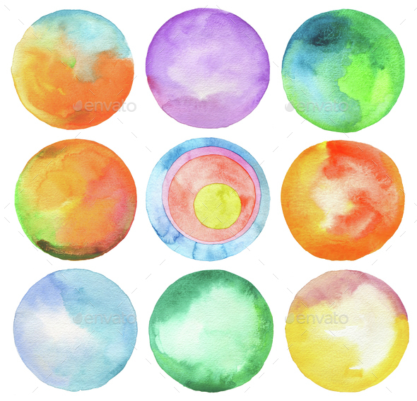 Set of circle watercolor. - Stock Photo - Images