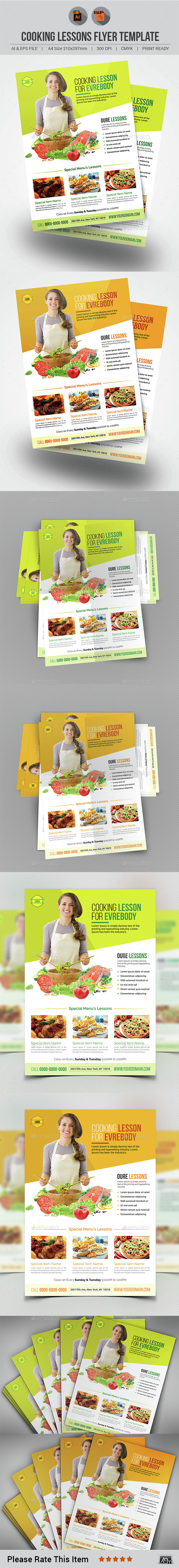 Cooking Lessons Flyer Template - Flyers Print Templates