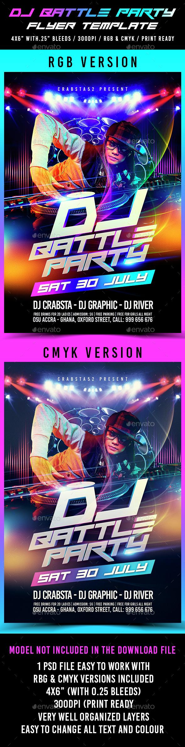 DJ Battle Party Flyer Template - Flyers Print Templates