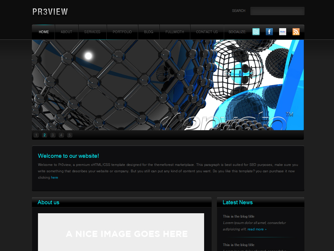 Free Download Preview - Fancy Dark xHTML/CSS theme Nulled Latest Version