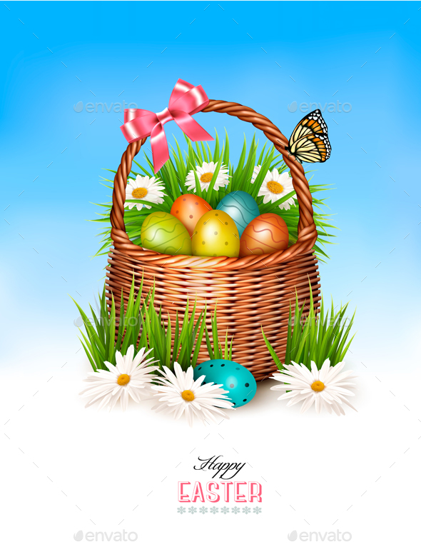 Happy Easter Background Basket with Eggs - Miscellaneous Seasons/Holidays
