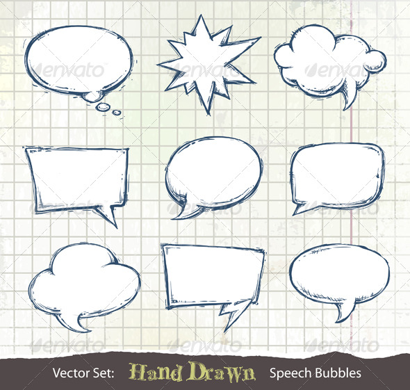 Set of hand-drawn speech bubbles - Decorative Symbols Decorative