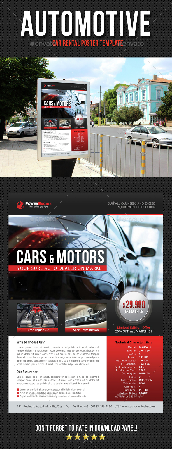 Automotive Car Rental Poster Template V10 - Signage Print Templates