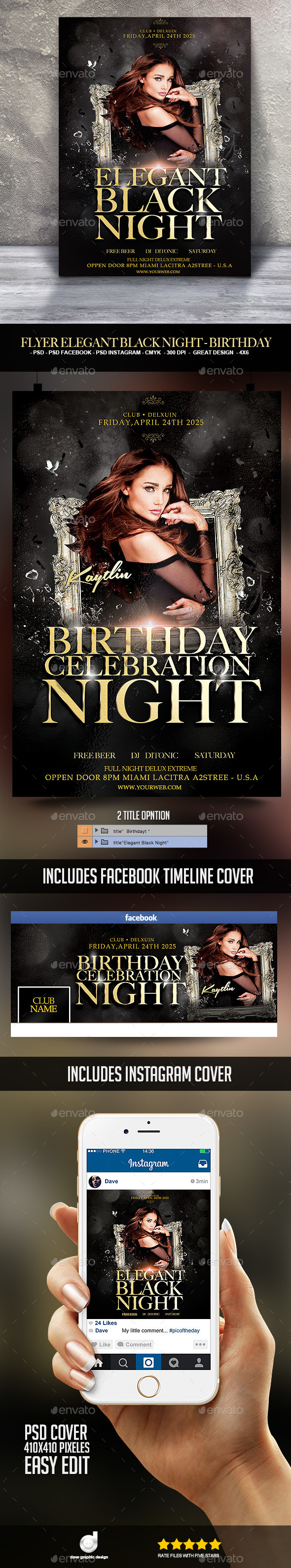 Flyer Elegant Black Night - Birthday - Clubs & Parties Events