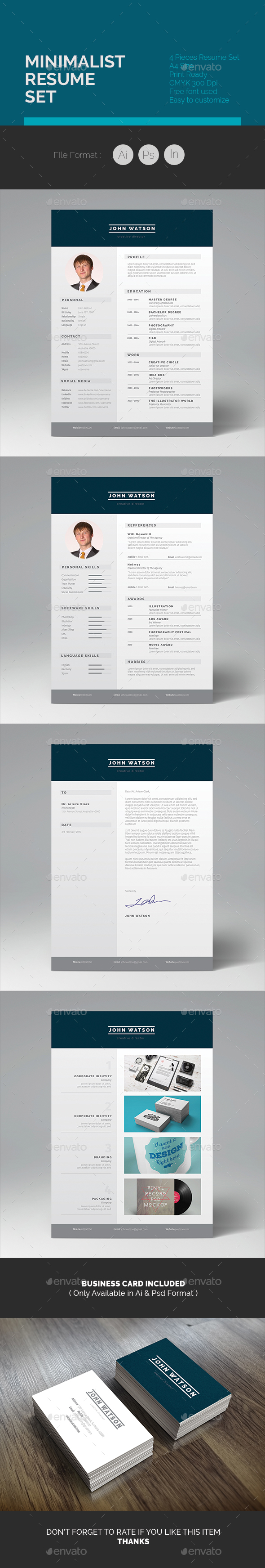 Minimalist Resume Set - Resumes Stationery