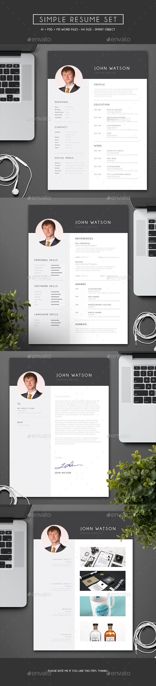 Simple Resume Set - Resumes Stationery