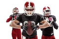 The three american football players posing with ball on white background - PhotoDune Item for Sale