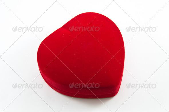 Red Velvet Silk Box for Engagement - Stock Photo - Images