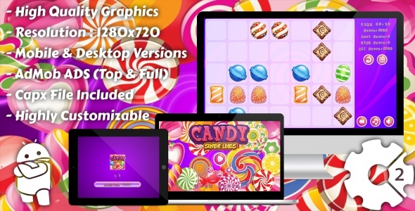 Candy Super Lines Match3 - HTML5 Game, Mobile Version+AdMob!!! (Construct 3 | Construct 2 | Capx) - CodeCanyon Item for Sale